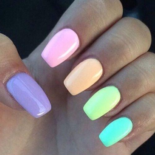 Colorful Pastel Nails Multicolored Nails Rainbow Nails Short Acrylic Nails