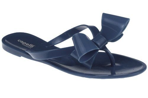 1ff0c2831 Capelli New York Ladies Fashion Flip Flop Jelly Thong With A Bow Navy 10