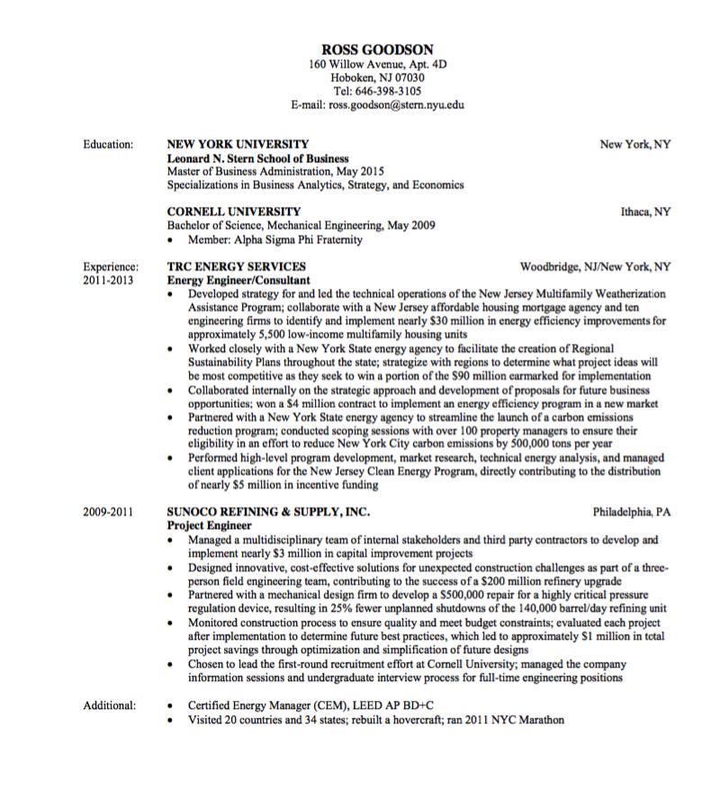 Engineering Resume Sample Examples Resume Cv