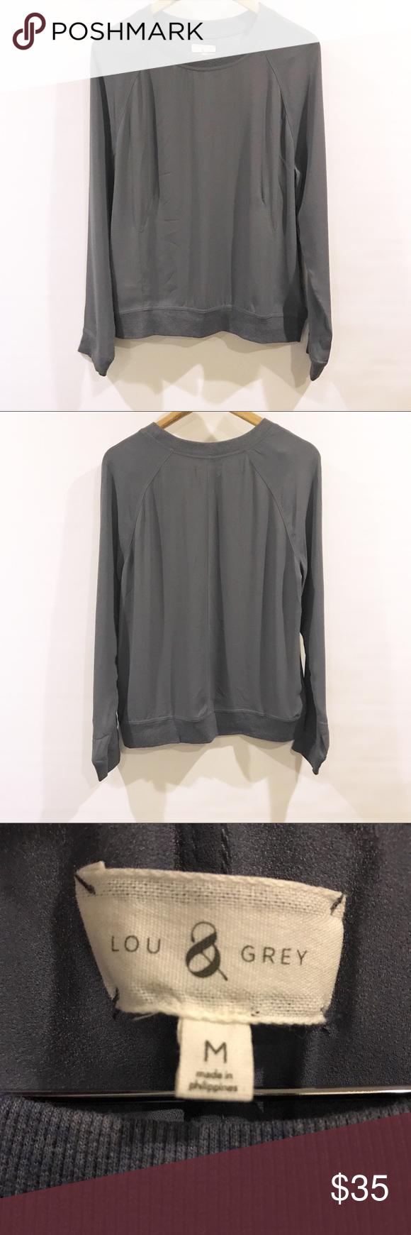 Lou Grey Charcoal Grey Flowy Blouse Size M My Posh Closet
