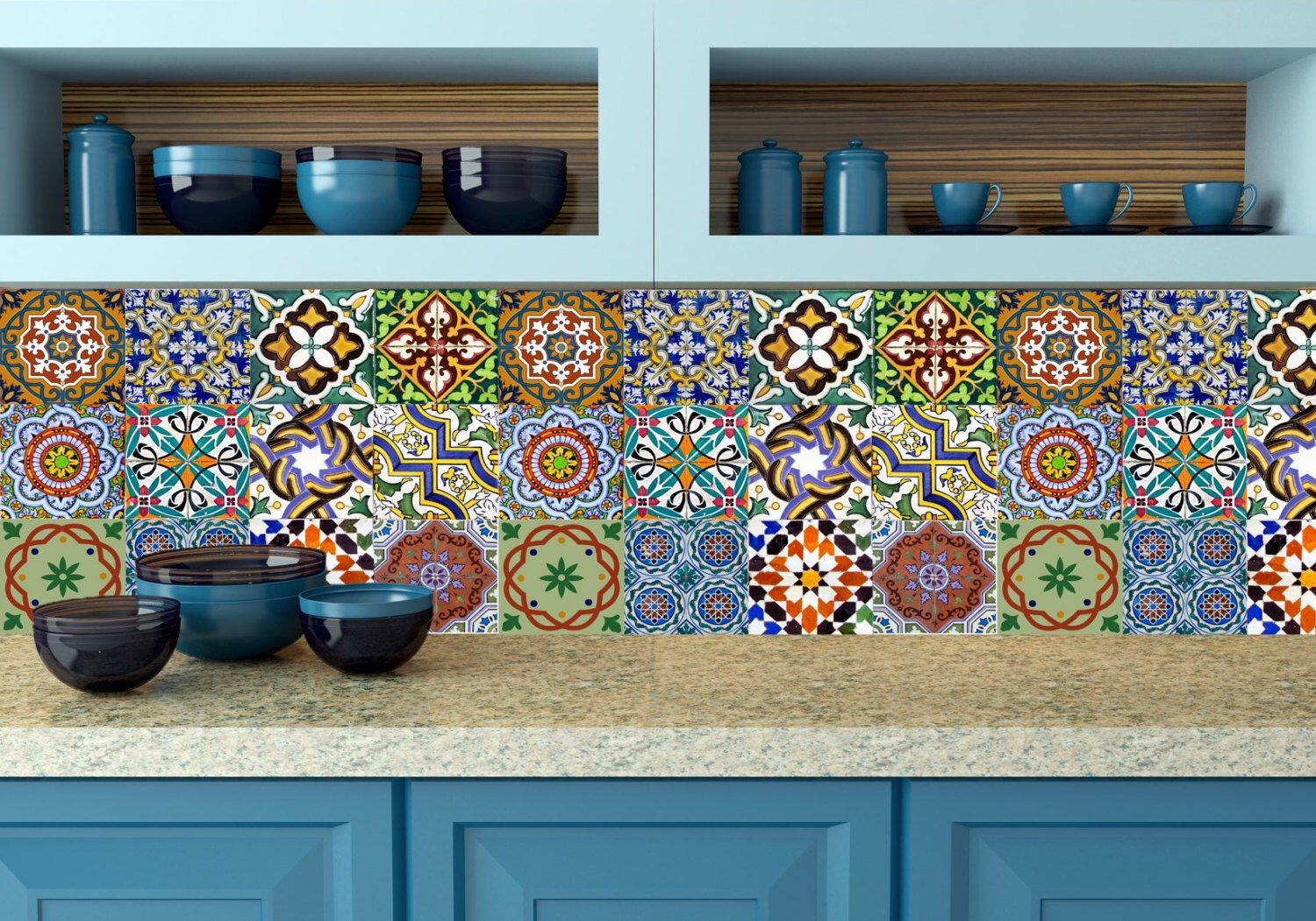 Set of 24 vintage traditional mexican Tiles Decals bathroom stickers ...