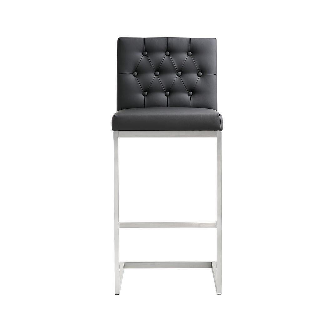 Tov Furniture Helsinki Stainless Steel Bar Stool Black - set of 2
