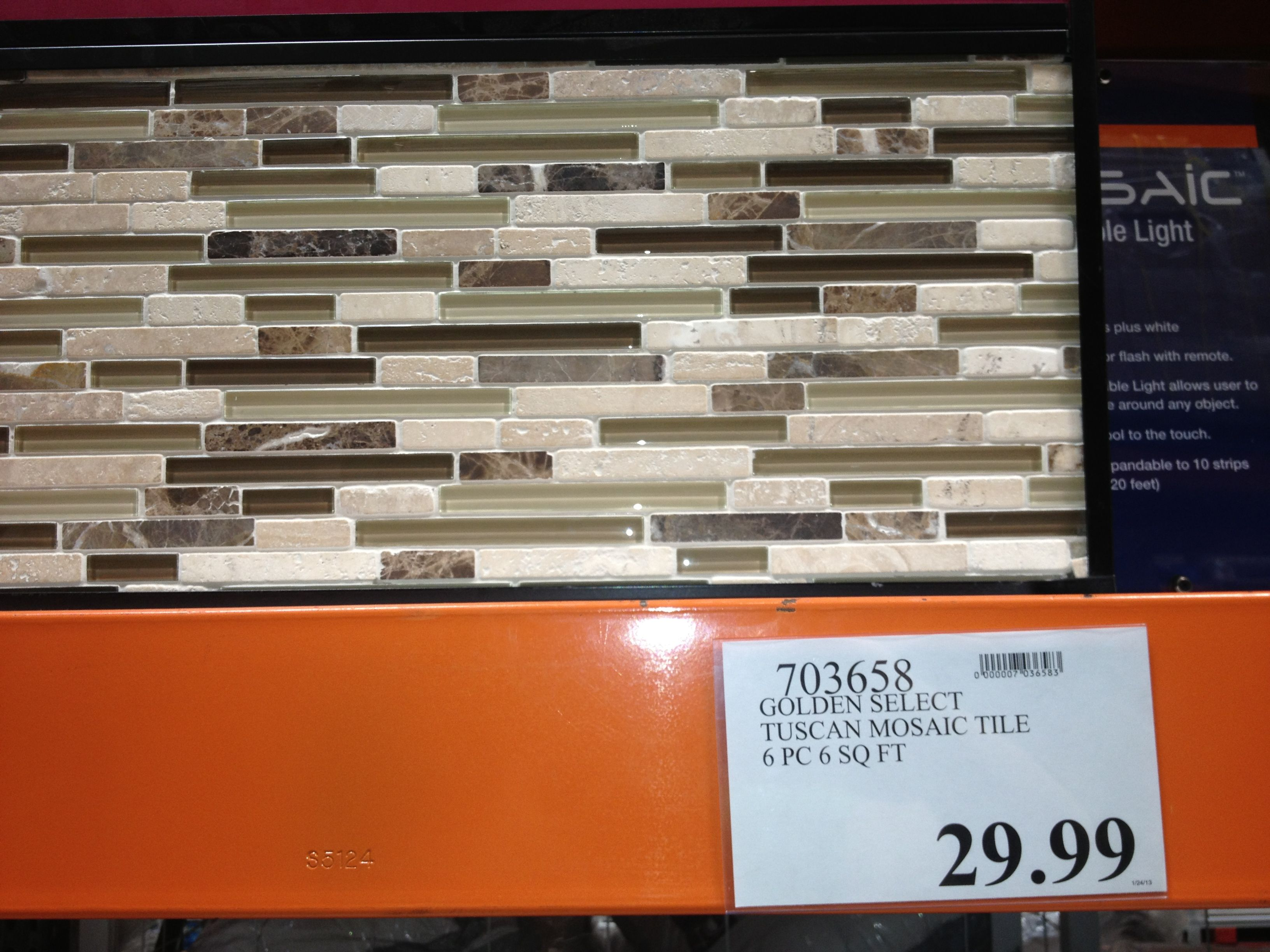 Golden select Glass and Stone Tuscan Mosaic Tile - 6pc for 6 sqft ...