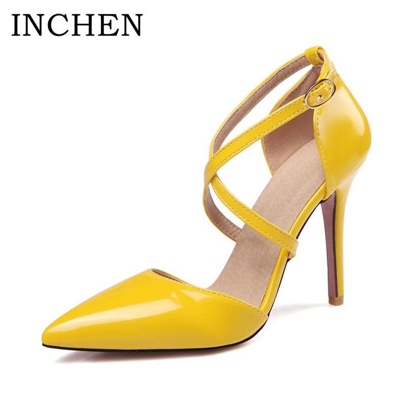 ed7a042719d2 INCHEN Shoes Super High Heels Ladies Pumps Pointed Toe Thin Heels Pumps  Classic Yellow Plus Size