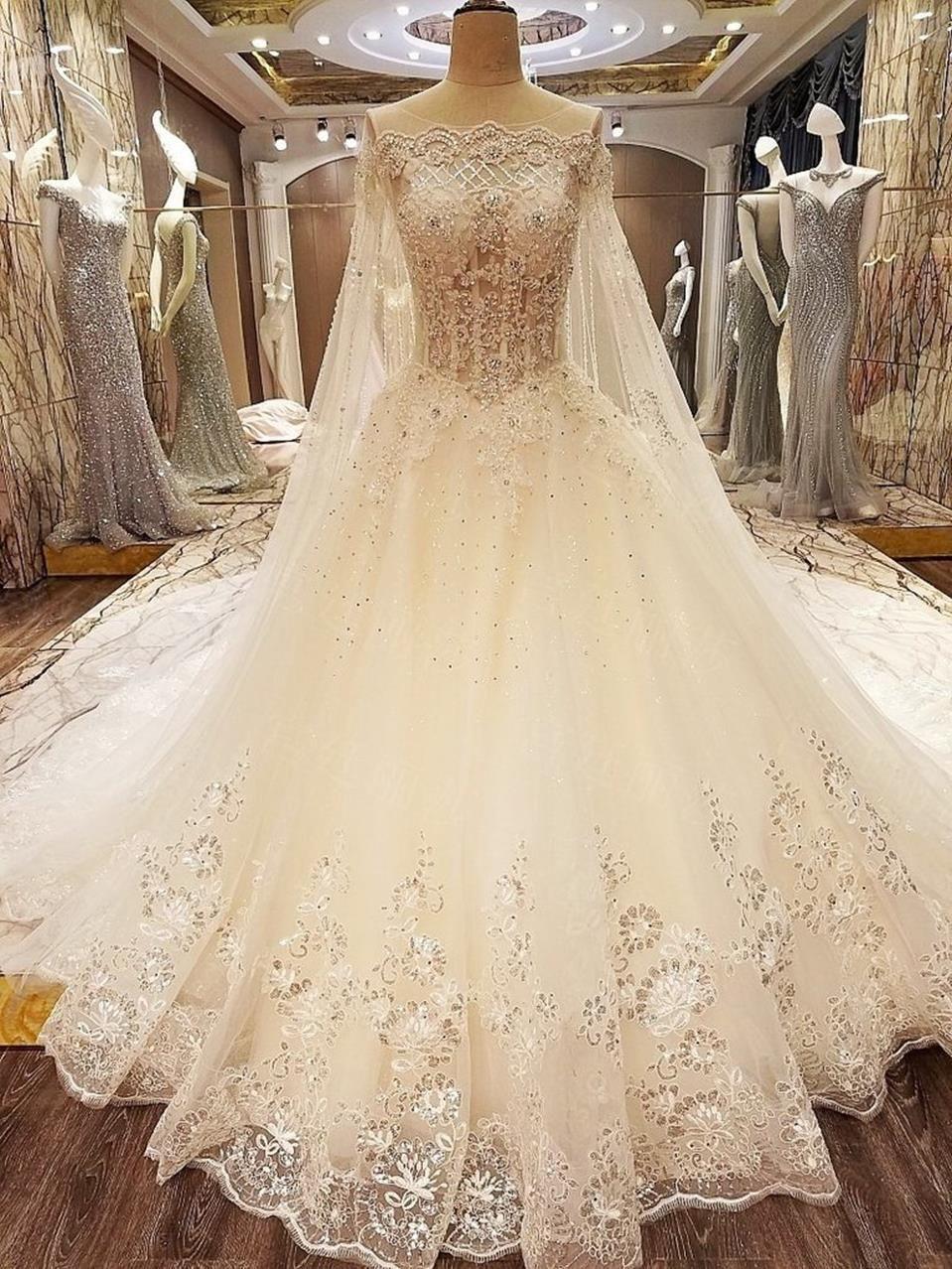 Plus Size Wedding Dress Ornate Elegant Bridal Gowns With Cathedral Train Long Train Wedding Dress Wedding Dress Train Long Wedding Dresses