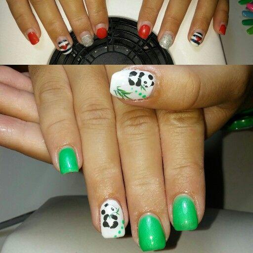 Nail art oanda cin bianco e verde fluo perlato