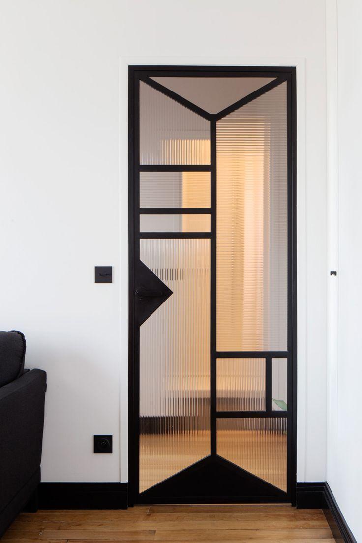 Interior details | Custom black steel and glass door …