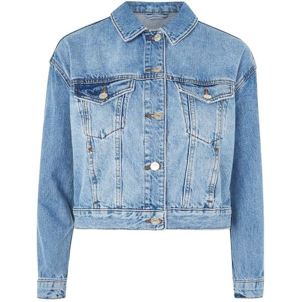 Topshop Petite Boxy Cropped Denim Jacket 1 330 Mxn Liked On Polyvore Featuring Outerwear Jackets Mid Stone Petite Denim Jacket Boxy Jackets Petite Ropa