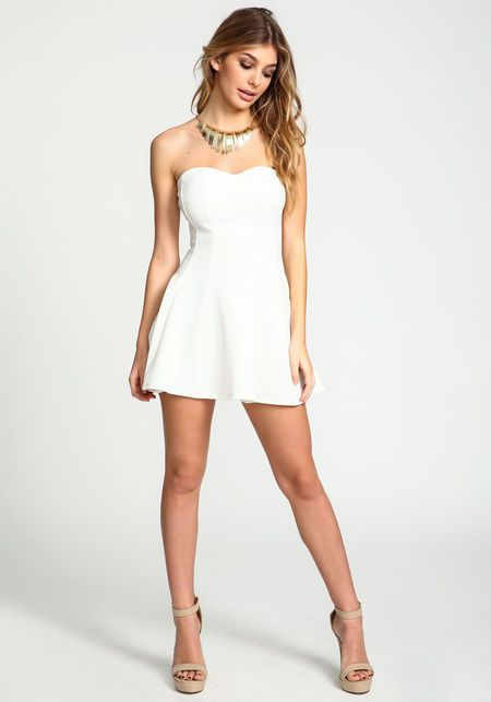 Ivory Gold Collar Strapless Dress, IVORY