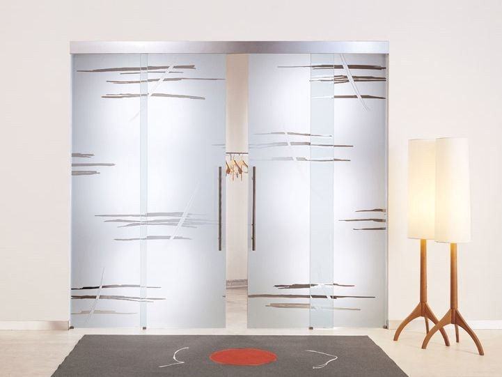 Sandblasted Glass Sliding Door Without Frame GRAFFIO THEMES Collection By  Casali
