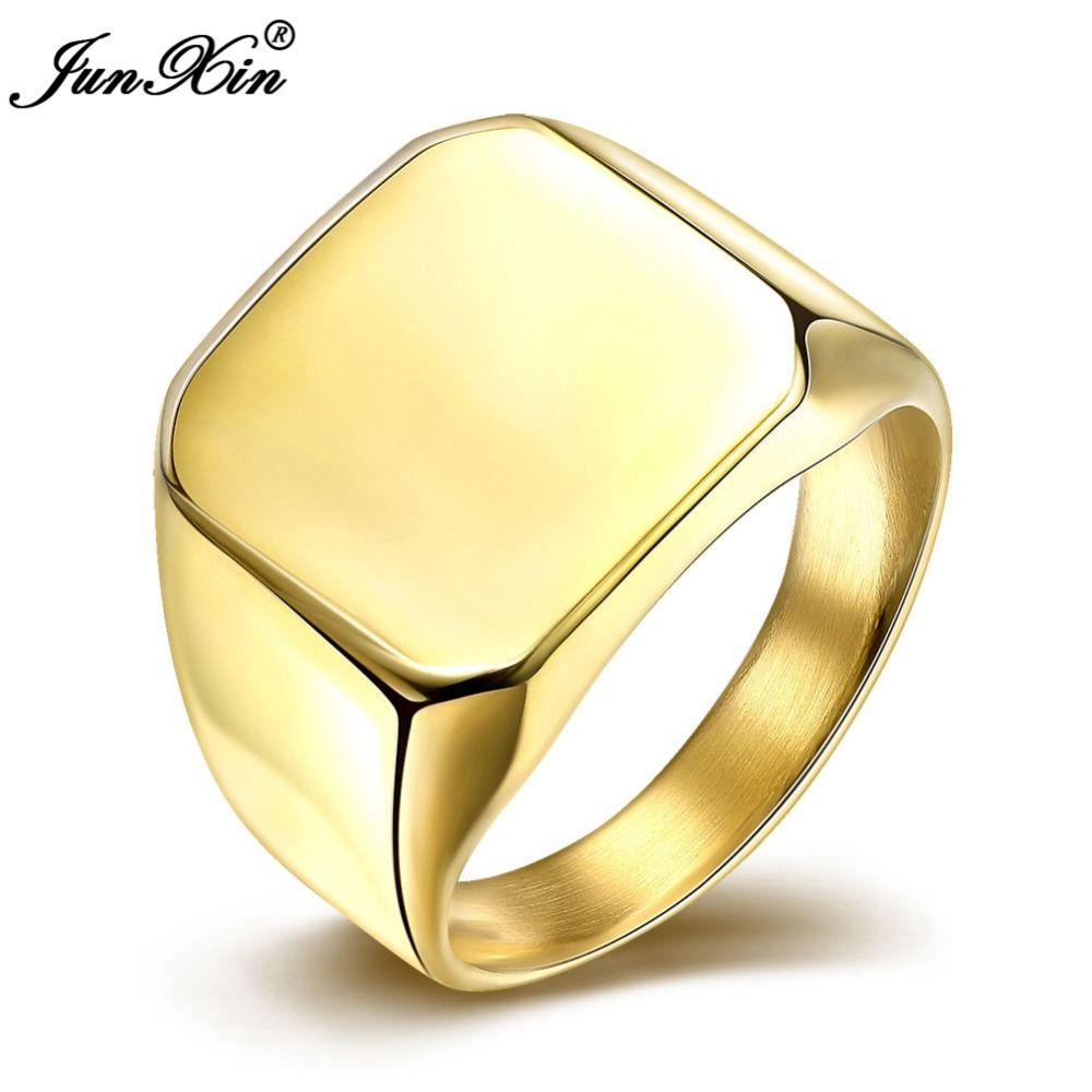 JUNXIN Silver Gold 2 Colors Fashion Male Stainless Steel Ring ...
