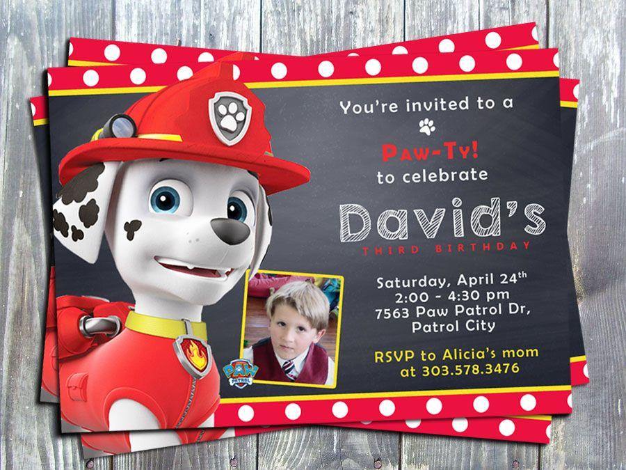 Personalised Paw Patrol Party Invitations Envelopes Birthday Invites Marshall