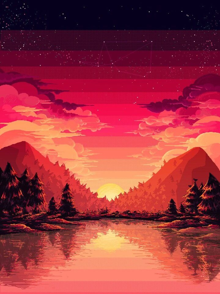 8bit Pixel Sunset In 2020 Pixel Art Landscape Pixel Art Pixel Art Tutorial
