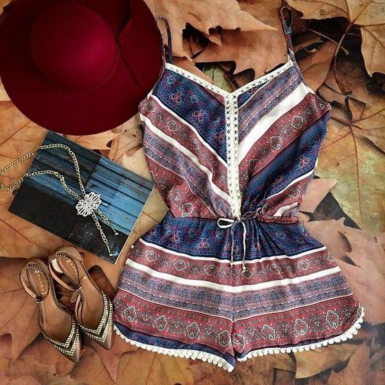 Brown Floral Print Condole Belt Elastic Waist Fashion Short Jumpsuit - Shorts - Bottoms