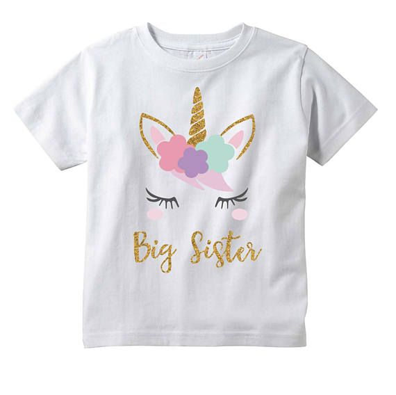 86e2c3bcd Girls Unicorn Big Sister T-Shirt, Unicorn Baby Shower Gift, Toddler Big  Sister Outfit
