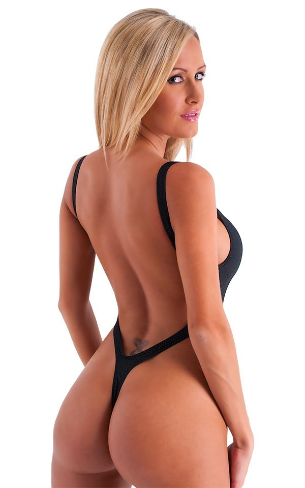 One Piece Thong Swim Suit In Semi Sheer Black Powernet