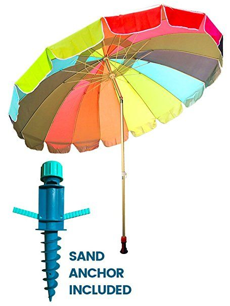 Party With Pride Giant 8 American Flag Beach Umbrella Uv Protection Includes Large Sand Anchor For Sun And Outdoor Windproof