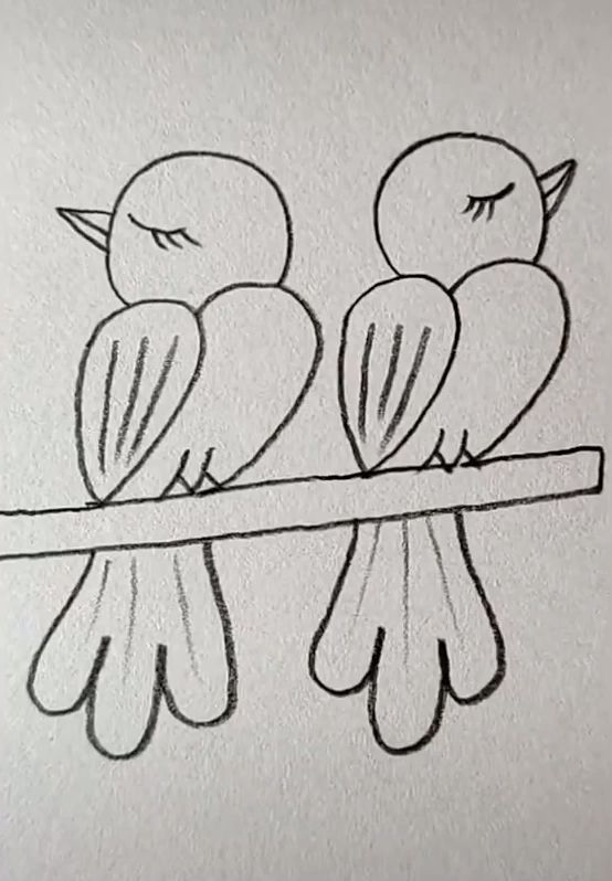 Photo of gemaltes Easy Drawing Tutorials – Drawing A Cute Bird