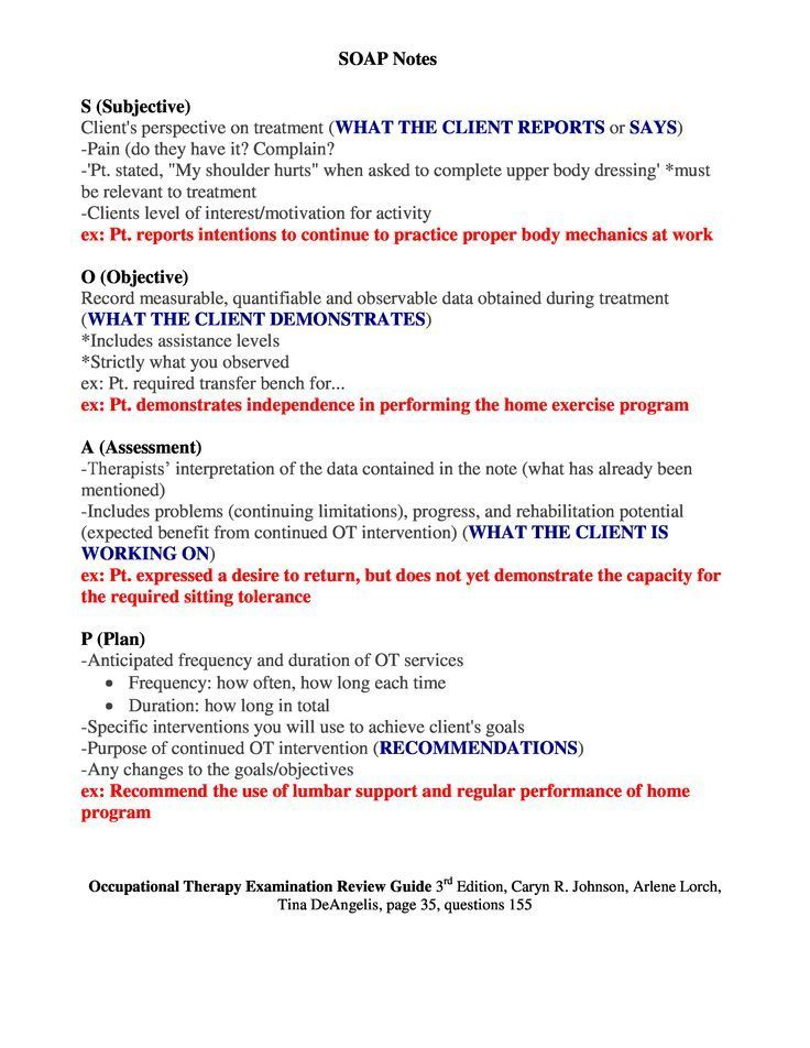 SOAP Notes Occupational Therapy Examination Review Guide 3rd - sample resume physical therapist