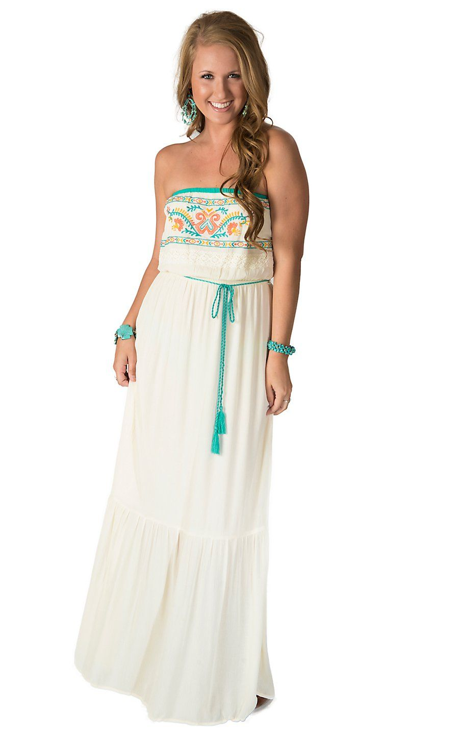22df979830b Flying Tomato Women s Ivory with Turquoise and Coral Embroidery Strapless  Maxi Dress