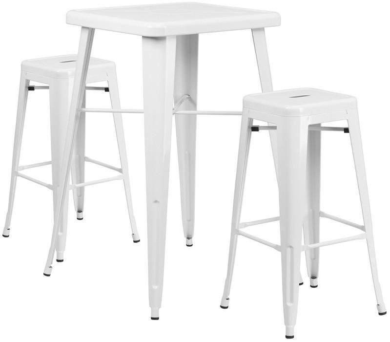 Tavolo Legno Bianco Esterno.Flash Furniture Ch 31330b 2 30sq Wh Gg Set Tavolo Da Bar Quadrato