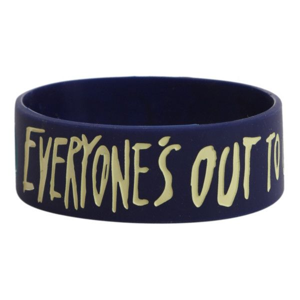 Get Scared Everyone's Out To Get Me Rubber Bracelet | Hot Topic ($7) ❤ liked on Polyvore featuring jewelry, bracelets, rubber bracelets, rubber bangles and rubber jewelry