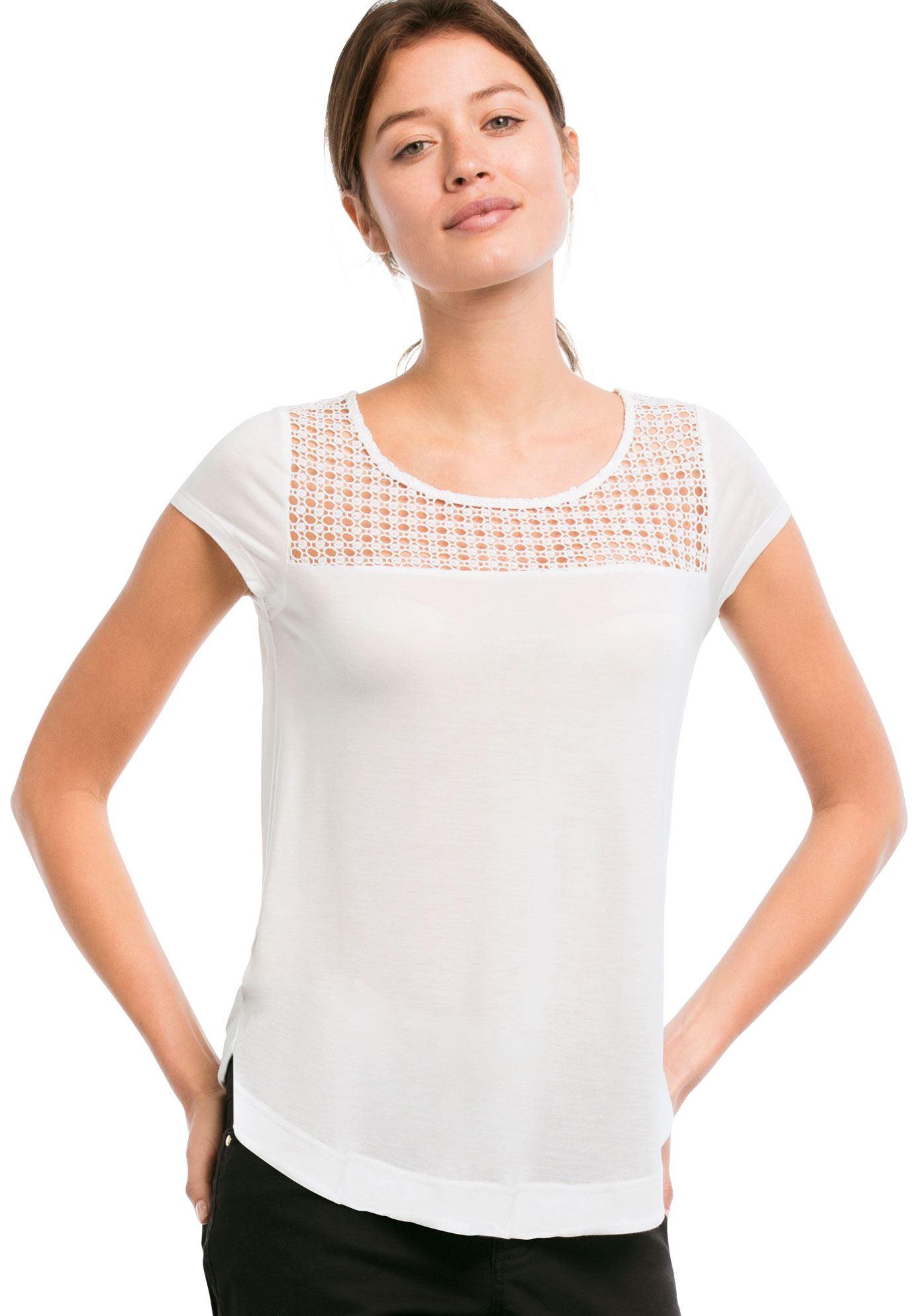 crochet lace yoke teeellos  women's plus size