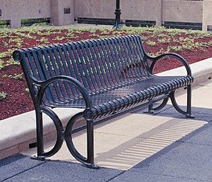 Model CR-18: A City Sites Series™ bench with uniquely curved castings that delight the eye and enhance the setting. The CR-18 is shown here in standard 6 ft. (1.8 meter) length.