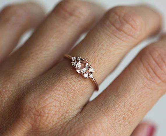 Oval Peach Sapphire Cluster Ring With Side Diamonds Solid Etsy In 2020 Peach Sapphire Rings Engagement Rings Sapphire Solid Gold Band