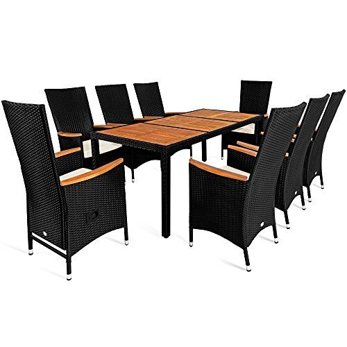 Rattan Garden Furniture Table and Chair Set 8 Seater Outdoor Dining Table  Set Acacia Wood Rectangular. Rattan Garden Furniture Table and Chair Set 8 Seater Outdoor