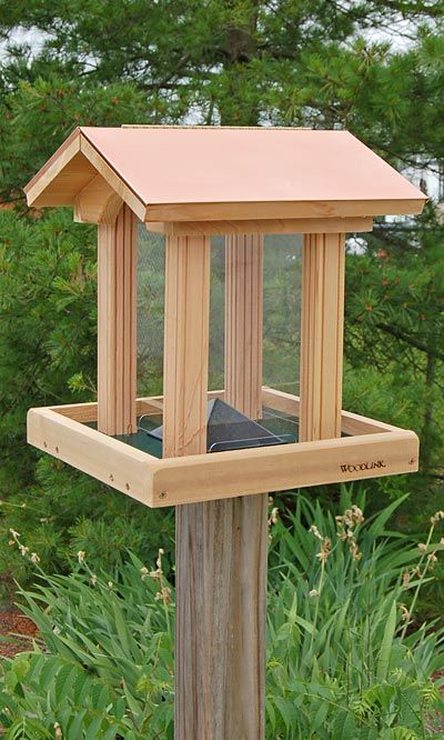 Woodlink Coppertop Cedar Hopper Bird Feeder At Bestnest Com Large Bird Feeders Wooden Bird Feeders Wood Bird Feeder