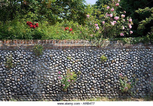 Brick and flint wall in Happisburgh Norfolk United Kingdom ...