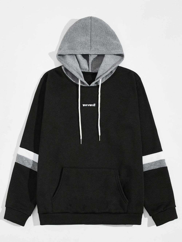 Black Friday 2020 Men Letter Embroidery Contrast Hooded Sweatshirt Shein Usa Hooded Sweatshirts Sweatshirts Printed Hooded Sweatshirt [ 1332 x 1000 Pixel ]