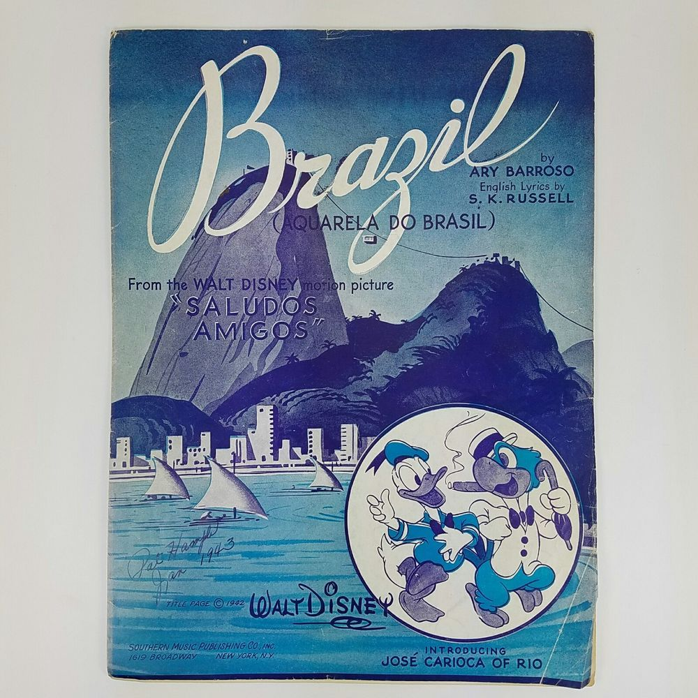 Walt Disney Donald Duck Brazil Sheet Music Aquarela Do Brasil