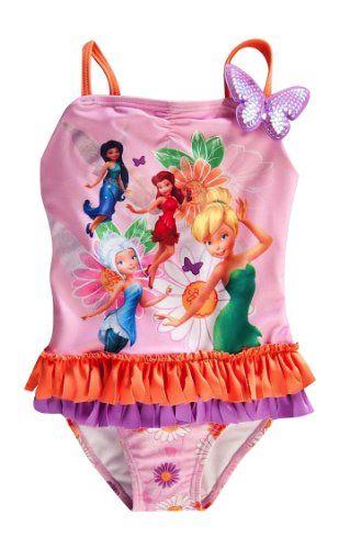 799ab5efed9e7 Disney Store Fairies Swimsuit Small 56  TinkerbellPeriwinkleRosettaSilvermist -- Click image for more details.