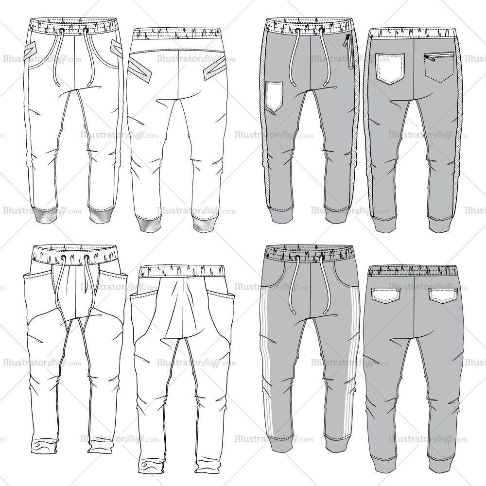 mens jogger pants flat templates