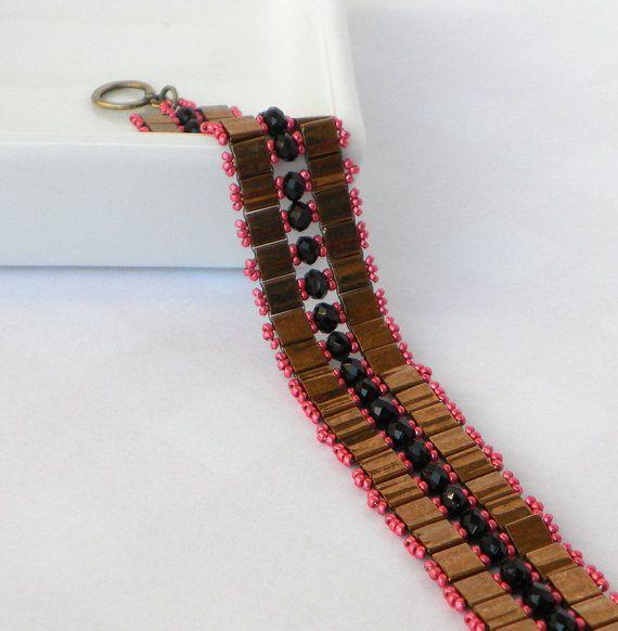 antique copper black beaded bracelet, Charm Bracelet, Friendship Bracelet, Beadwork Jewelry handmade bracelet