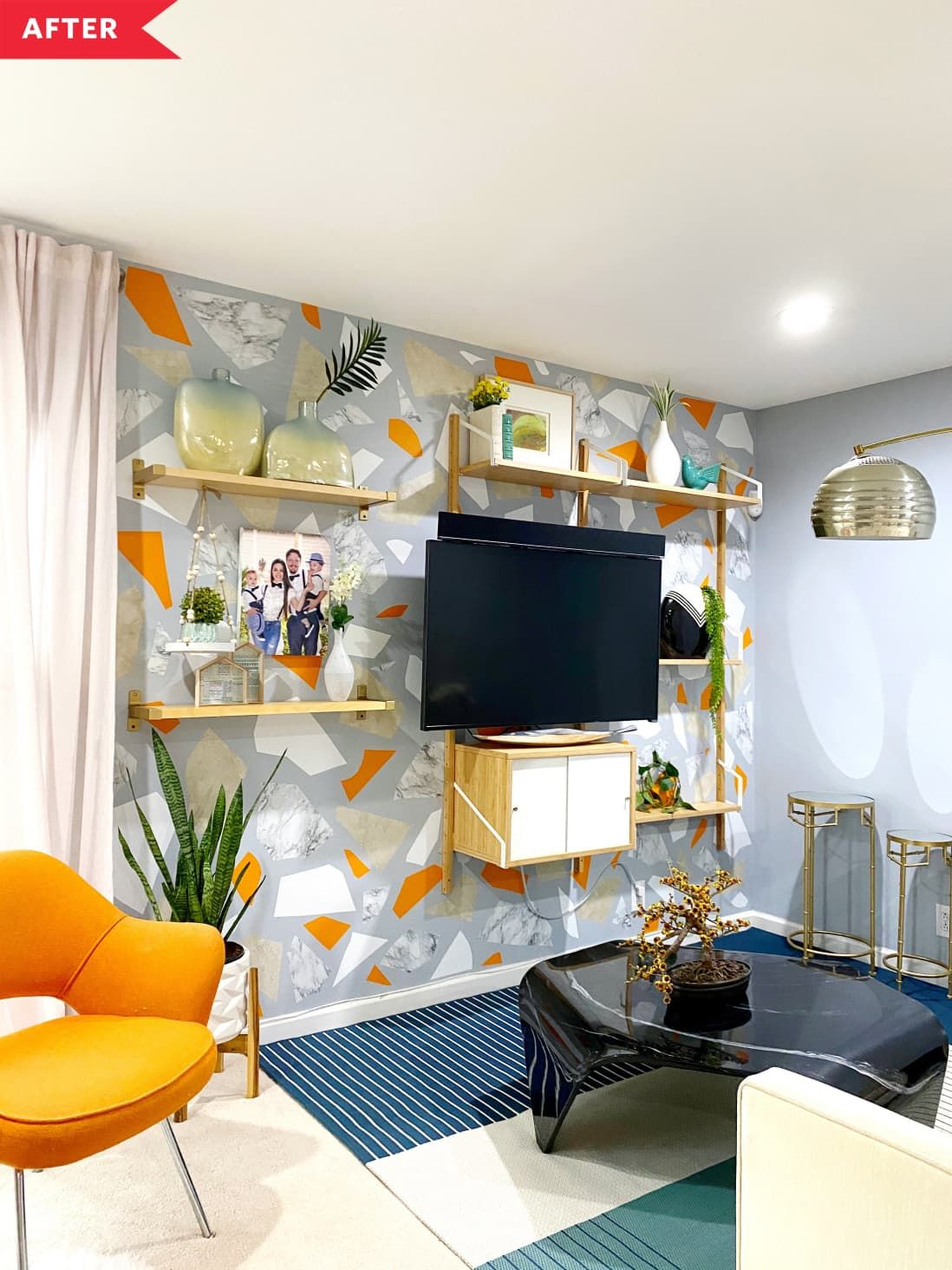 After Gray Wall With White Gray And Orange Terazzo Contact Paper