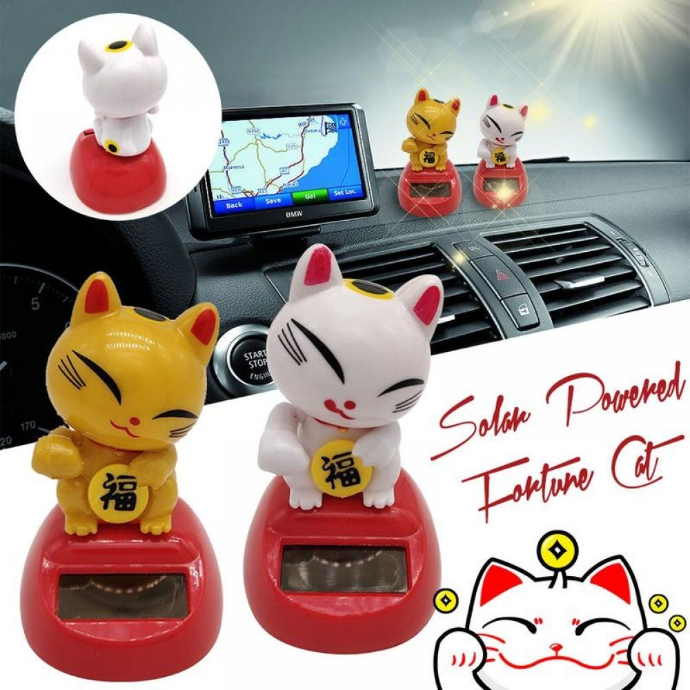 Solar Powered Cat Ornament Flip Toys Kids Doll House Decorations