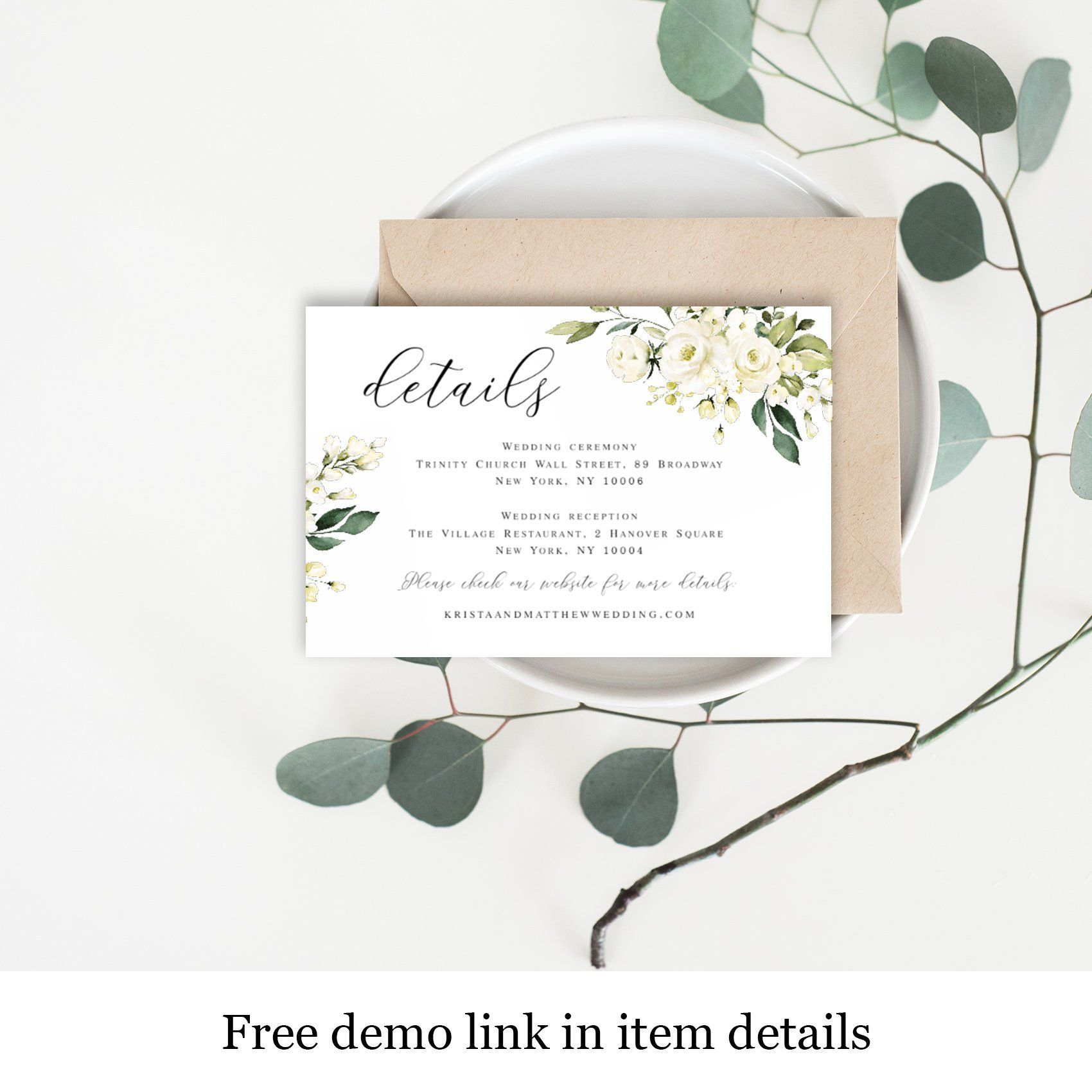 Wedding Invitation Detail Card Template Fully Editable Text Templett Downloadable White Floral Enclosure Insert Cards Roses Leaves Vmt4116 Weddingtips Weddin