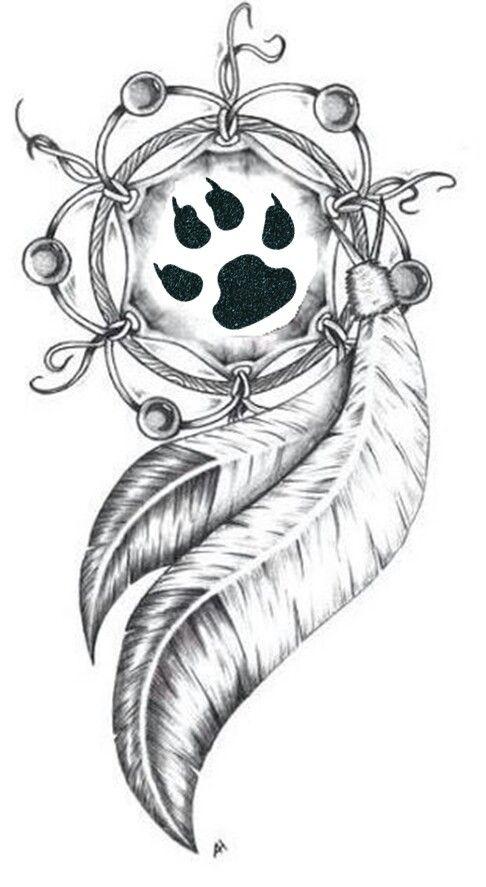 Center Paw Print Wolf Tattoo Design Native American Tattoos Native Tattoos