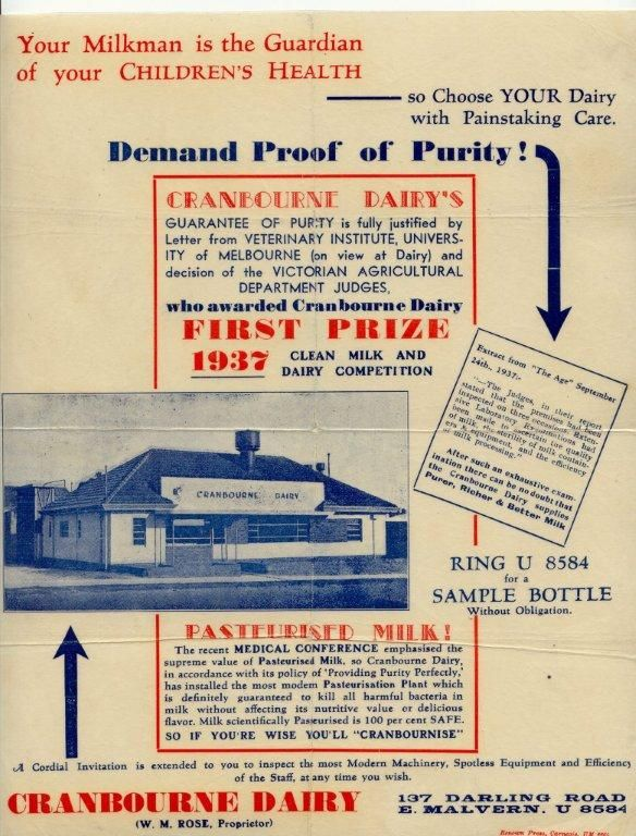 MP 15115. Advertising brochure for Cranbourne Dairy in Darling Road East Malvern; 1937.