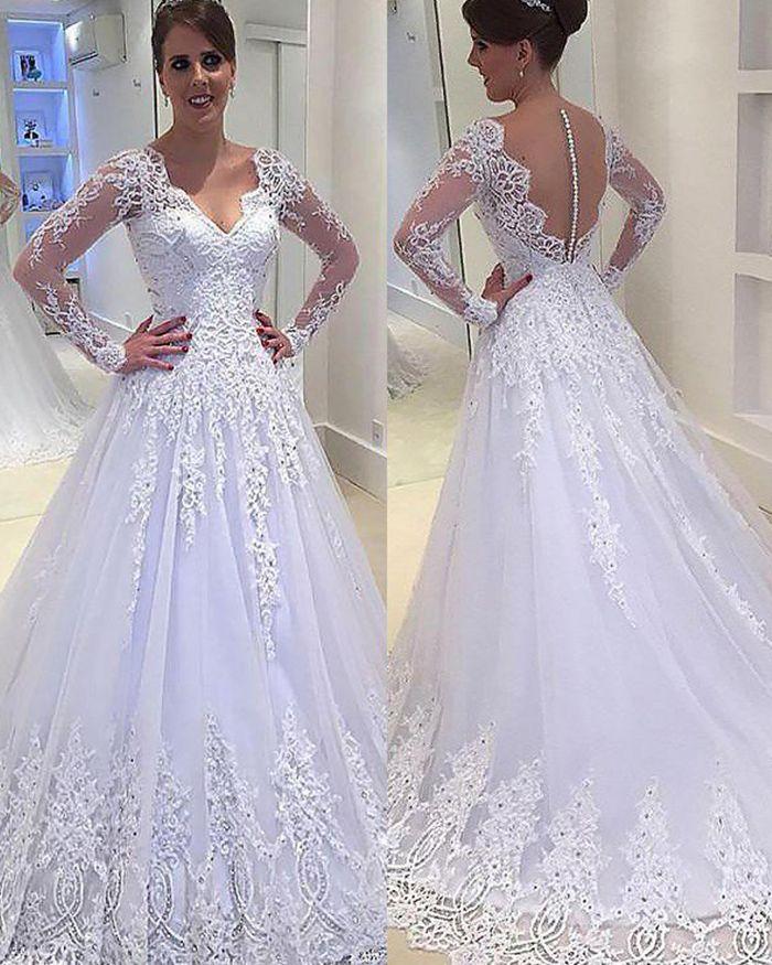Sheer Lace Applique Long Sleeve Wedding Dress V Neck: V-neck White Lace Appliqued Beading Pleated Princess