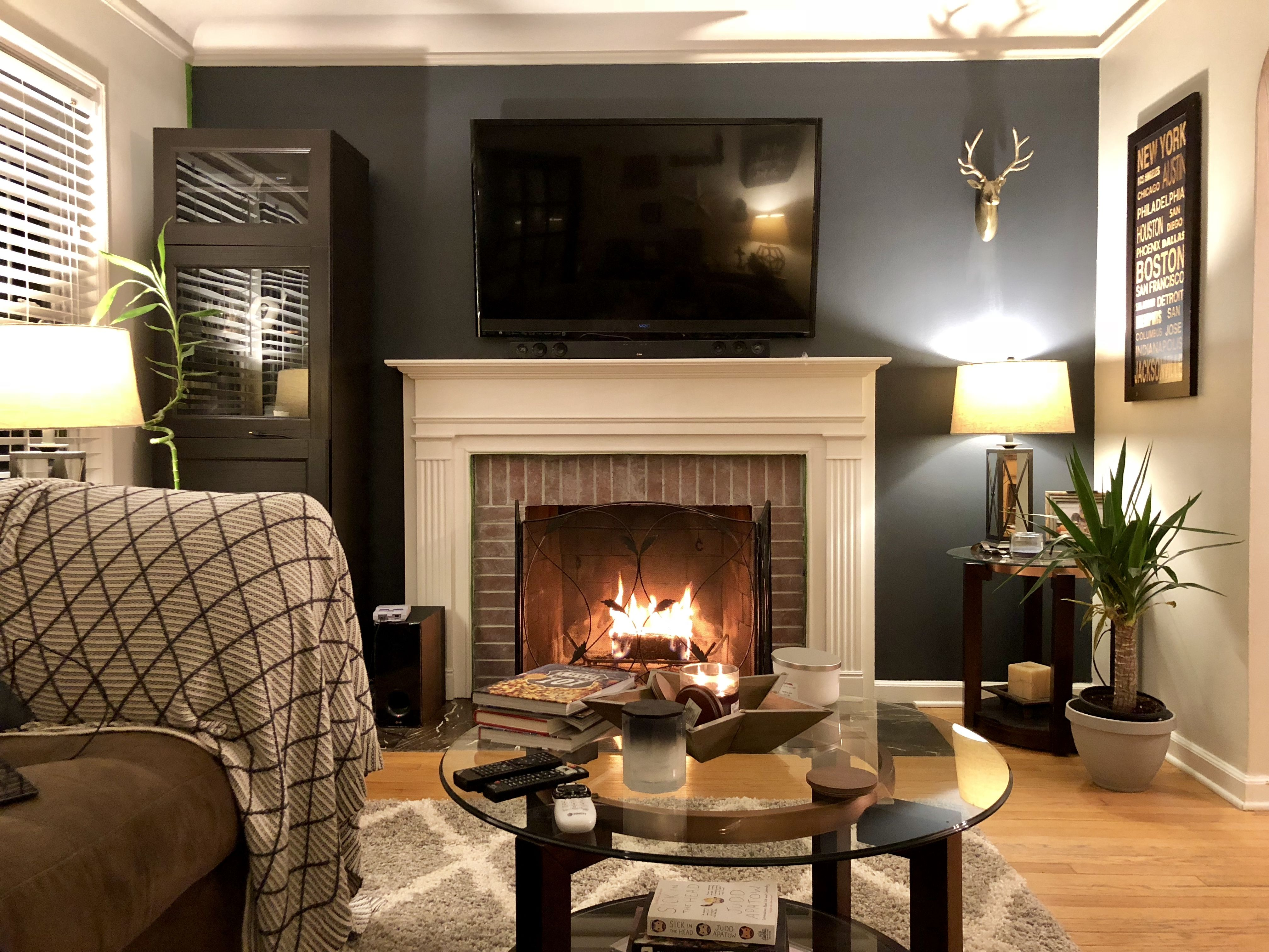 Sherwin Williams Cyberspace Glazed Fireplace Family Room Room Living Room