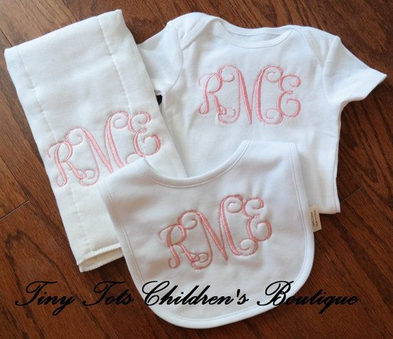 Personalized baby girl gift set monogram bodysuit bib burp cloth personalized baby girl gift set monogram bodysuit bib burp cloth embroidered bodysuit monogram girl burp cloth girl burp cloth negle Gallery