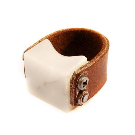 Marble and Leather Ring