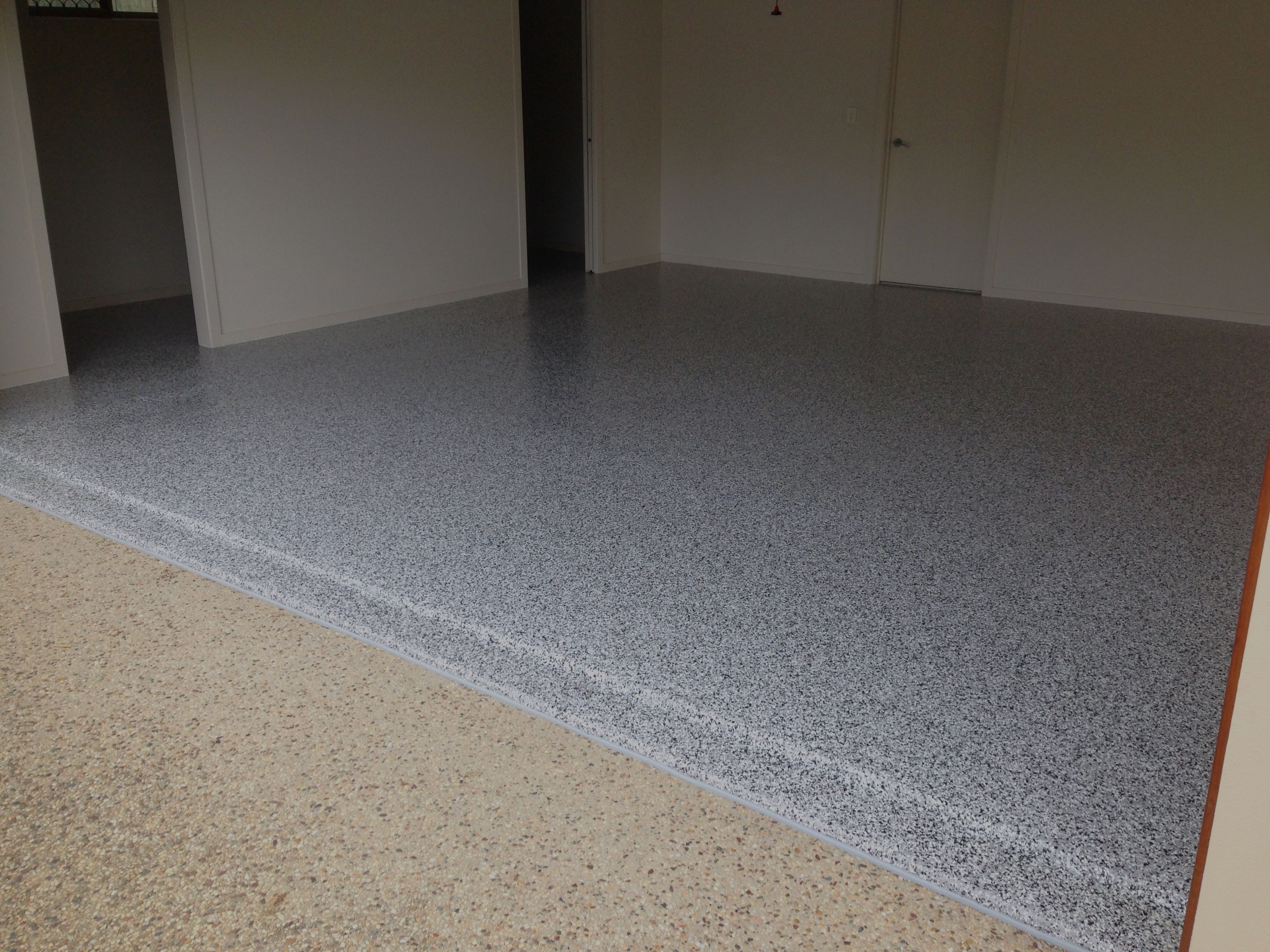 An Epoxy Floor Coating Using Cookies And Cream Flake Over Pipeline Grey At This Beautiful Noosaville Residence Epoxy Floor Epoxy Floor Coating Floor Coating