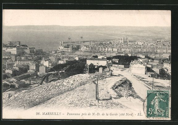 panorama pris de notre dame de la garde c t nord carte postale ancienne pinterest notre. Black Bedroom Furniture Sets. Home Design Ideas