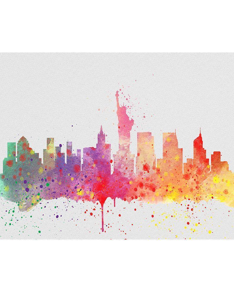 Watercolor New York: New York City Skyline 2 Watercolor Art Print