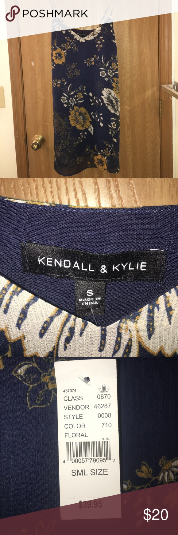 Kendall & Kylie navy blue floral slip dress Navy blue floral dress! Never worn. Brand new with tags! Kendall & Kylie Dresses Mini